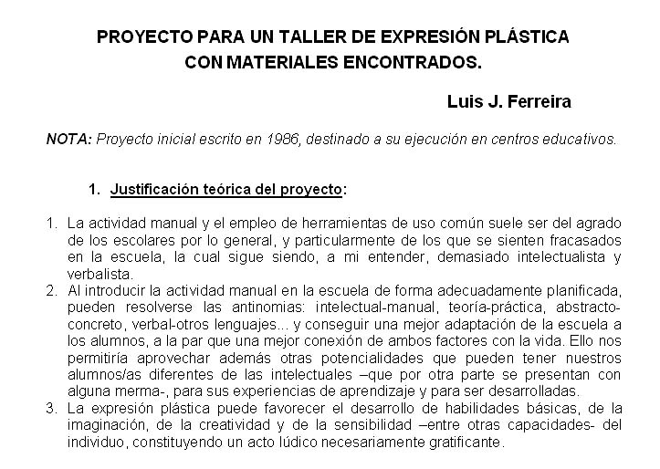 1. Proyecto para un taller de expresión plástica con materiales encontrados