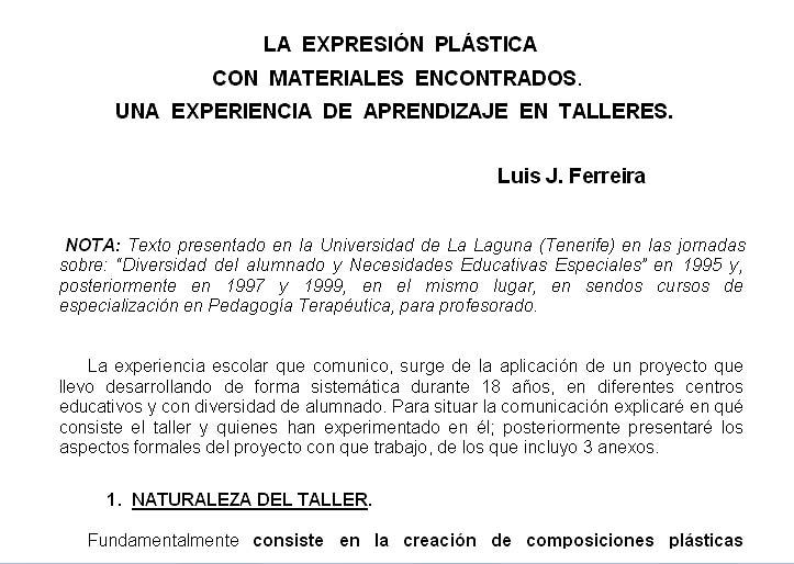 2.1 La expresión plástica con materiales encontrados. Una experiencia de aprendizaje en talleres