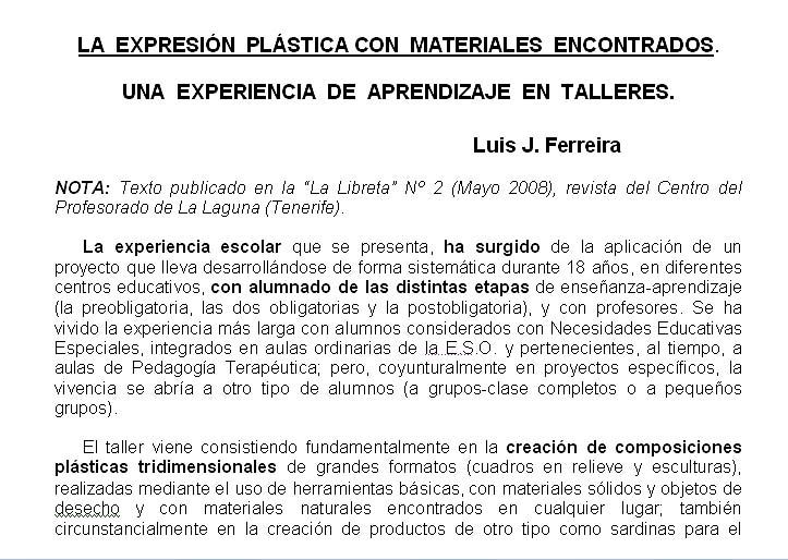 2.2 La expresión plástica con materiales encontrados. Una experiencia de aprendizaje en talleres