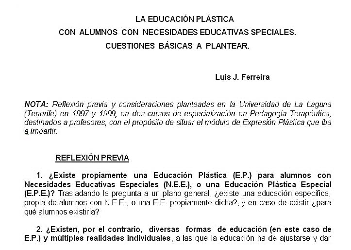3. La Educación Plástica con alumnos con Necesidades Educativas Especiales